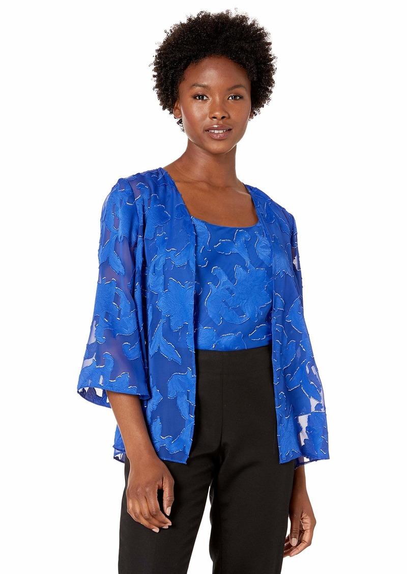 Alex Evenings Women's Burnout Twinset Tank Top and Jacket Petite and Regular