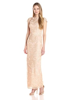 Alex Evenings Women's Cap Sleeve Embroidered Gown Dress (Petite and Regular Sizes)