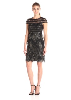 Alex Evenings Women's Cap Sleeve Metallic Lace Sheath Dress (Petite and Regular Sizes)