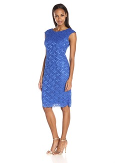 Alex Evenings Women's Cap Sleeve Mock Dress with Scallop and Hot Fix Sequin Detail