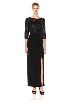 Alex Evenings Women's Column Dress with Sequin Bodice and Cascade Skirt