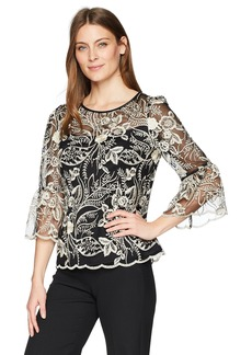 Alex Evenings Women's Embroidered Blouse with Bell Sleeve Detail  L