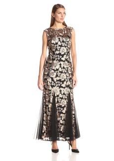 Alex Evenings Women's Embroidered Dress with Illusion Neckline  18