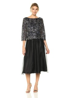 Alex Evenings Women's Embroidered Mock Dress With Tulle Skirt (Petite and Regular Sizes)