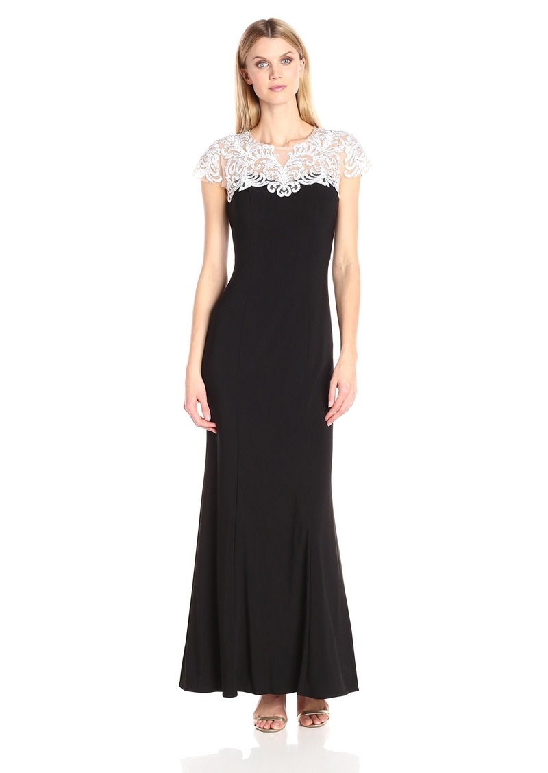 Alex Evenings Women's Long Sweetheart Neckline Embroidered Dress