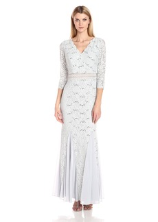 Alex Evenings Women's Fit and Flare Long Lace Dress
