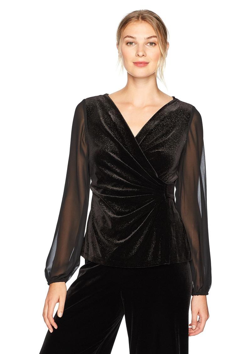 Alex Evenings Women's Foiled Velvet Blouse with Sheer Sleeves  M