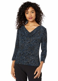 Alex Evenings Women's Glitter Knit Blouse  L