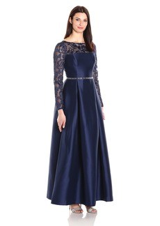 Alex Evenings Women's Illusion Lace Neckline Ballgown Dress