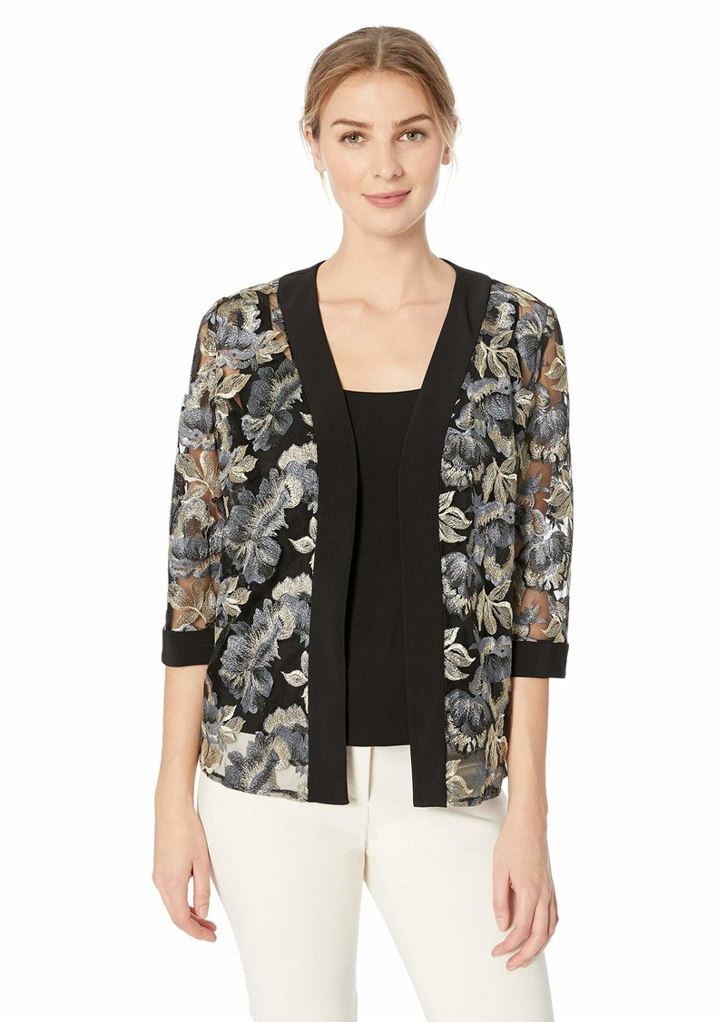 Alex Evenings Women's Embroidered Twinset Tank Top and Jacket Petite and Regular  L