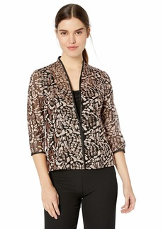 Alex Evenings Women's Jacket and Scoop Tank Top Twinset (Petite and Regular Sizes) Black/Rose Gold XL