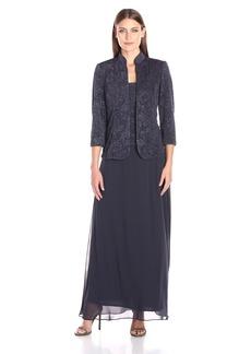 Alex Evenings Women's Jacquard Glitter Knit Long Dress and Mandarin-Neck Jacket
