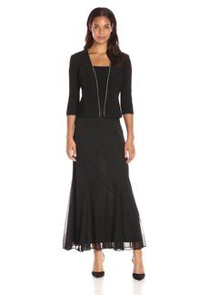Alex Evenings Women's Jersey Mesh Mock 2 Piece Jacket Dress with Rhinestone