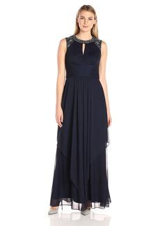Alex Evenings Women's Jewel Neck Long Evening Dress