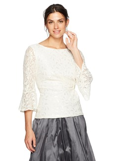 Alex Evenings Women's Lace Bell Sleeve Blouse with Embellishment