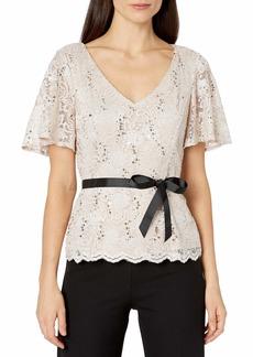 Alex Evenings Women's Lace Blouse Shirt (Missy and Plus)  L