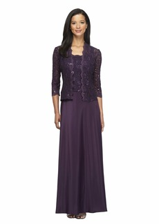 Alex Evenings Women's Lace Bodice Dress and Matching Jacket