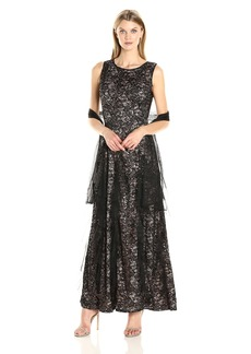 Alex Evenings Women's Lace Corkscrew Evening Dress