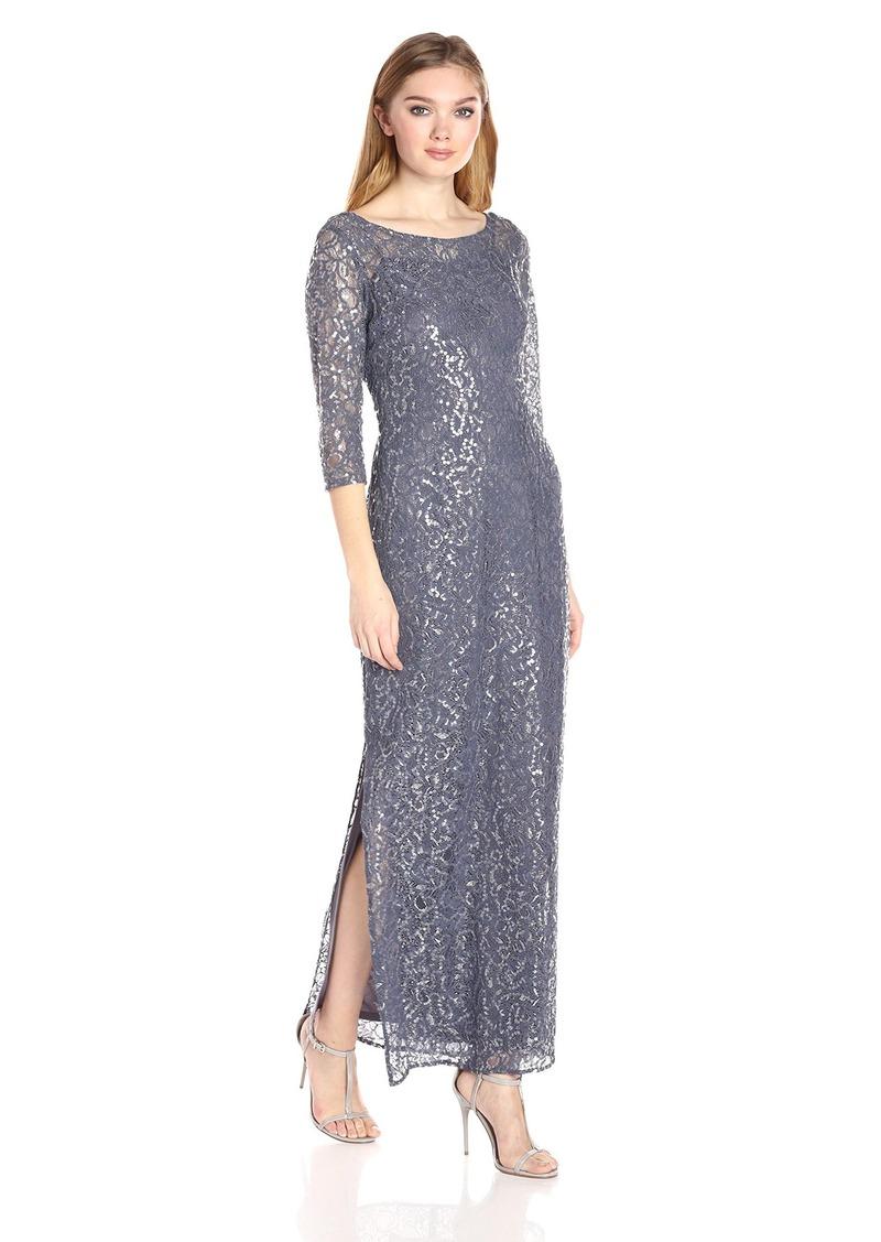 Alex Evenings Women's Lace Illusion Column Dress