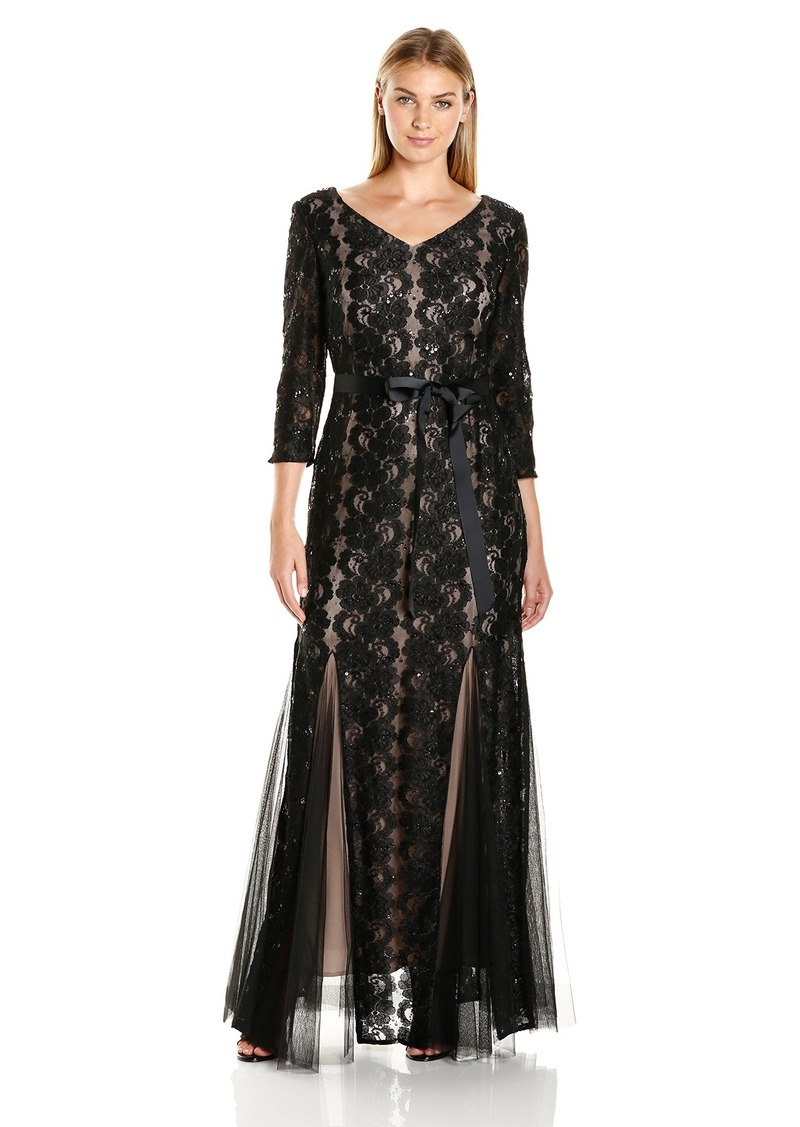 Alex Evenings Women's Long 3/4 Sleeve Lace Gown