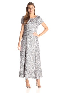 Alex Evenings Women's Long a-Line Rosette Dress with Short Sleeves and Sequin Detail