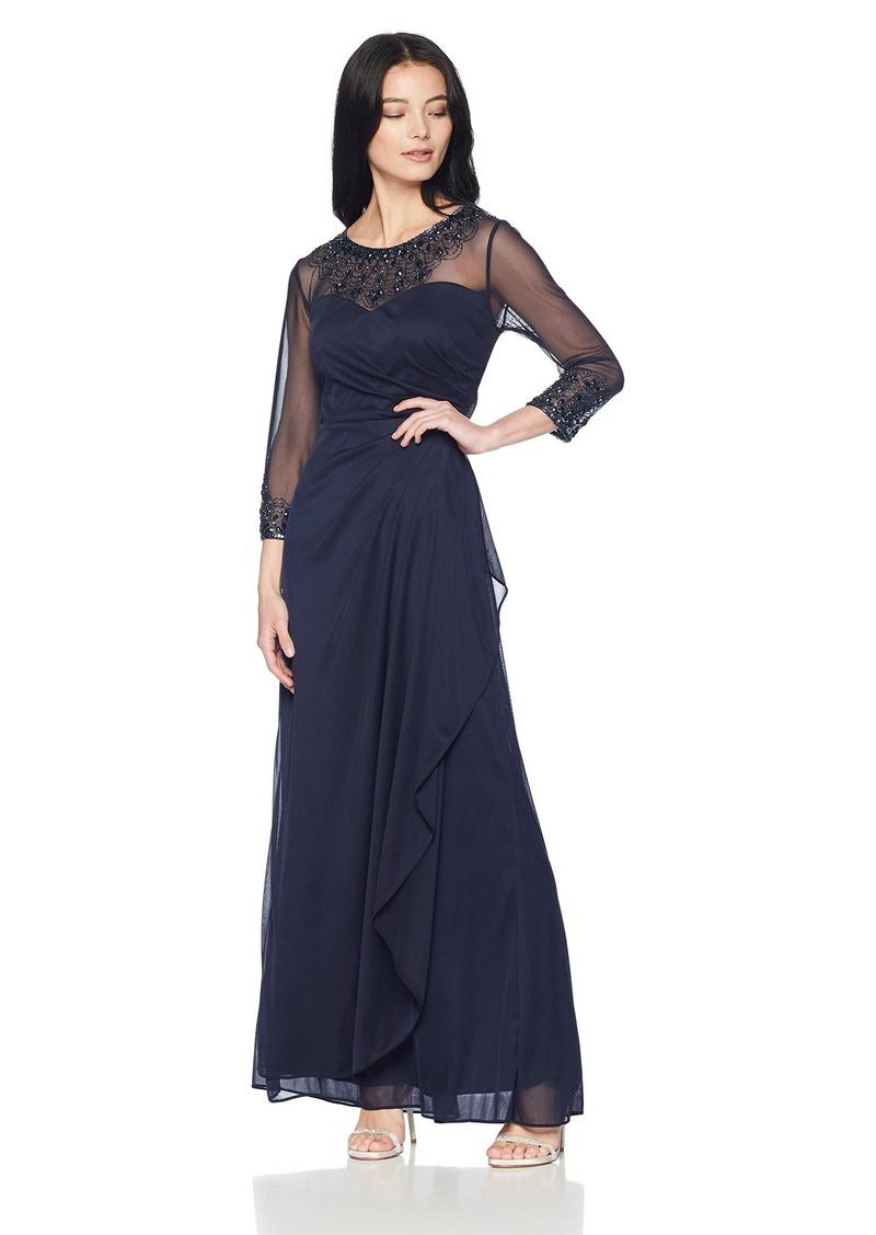 Alex Evenings Women's Long A-Line Sweetheart Neck Dress (Petite and Regular Sizes)