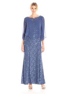Alex Evenings Women's Long All Over Lace Dress with Pointed Hem Overlay  18