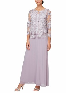 Alex Evenings Women's Long and Tea Length Mock Lace Jacket Dress (Regular Petite)  4P