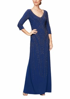 Alex Evenings Women's Long Beaded Fit and Flare Dress with 3/4 Sleeve