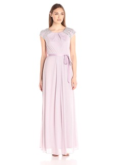 Alex Evenings Women's Long Cap Sleeve Dress with Beaded Shoulders and Tie Belt