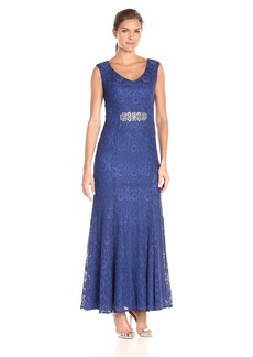 Alex Evenings Women's Long Cap Sleeve V-Neck Dress with Embellished Waist Detail