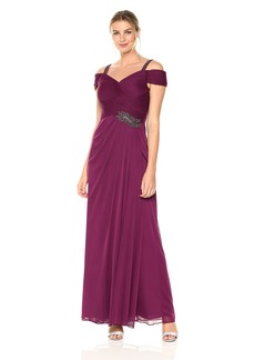 Alex Evenings Women's Long Cold-Shoulder Dress with Beaded Strap