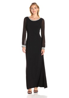 Alex Evenings Women's Long Column Dress With Beaded Cuff Illusion Sleeves