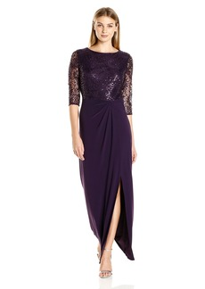 Alex Evenings Women's Long Column Dress with Drape Detail Skirt