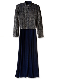 Alex Evenings Women's Long Column Dress with Printed Mandarin Collar Jacket