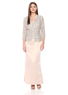 Alex Evenings Women's Long Column Mock Jacket Dress