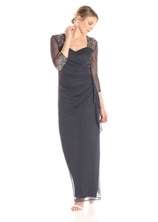 Alex Evenings Women's Long Dress with Beaded Illusion Neckline