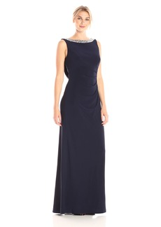 Alex Evenings Women's Long Dress With Beaded Neckline and Cowl Back Detail