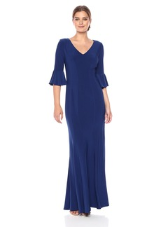 Alex Evenings Women's Long Dress With Bell Sleeves and Seaming Detail