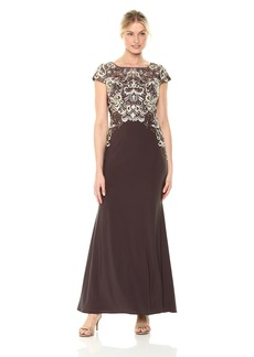 Alex Evenings Women's Long Dress With Embroidered Illusion Bodice