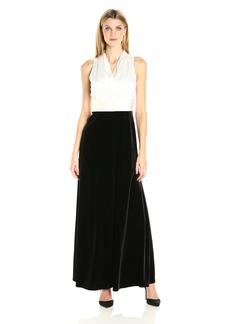 Alex Evenings Women's Long Dress with Halter Neckline and Pleated Waist Detail