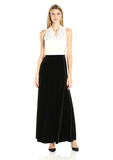 Alex Evenings Women's Long Dress with Halter Neckline and Pleated Waist Detail