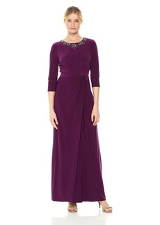 Alex Evenings Women's Long Dress with Knot Front Detail and Beaded Neck