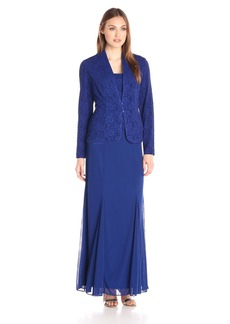 Alex Evenings Women's Long Dress with Mandarin Collar Jacket