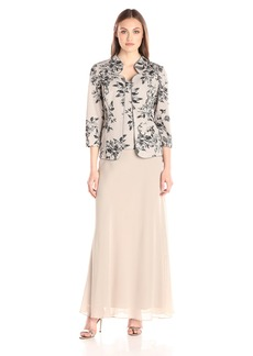 Alex Evenings Women's Long Dress with Printed Glitter Jacket