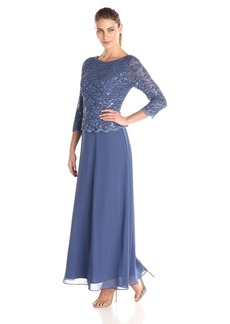 Alex Evenings Women's Long Dress with Scalloped Trim