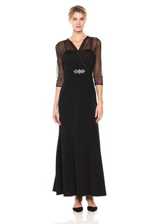 Alex Evenings Women's Long Dress with Surplice Illusion Neckline Overlay