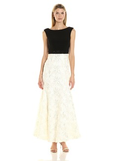 Alex Evenings Women's Long Embellished Waist Dress Black/Ivory