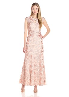 Alex Evenings Women's Long Embroidered a-Line Dress