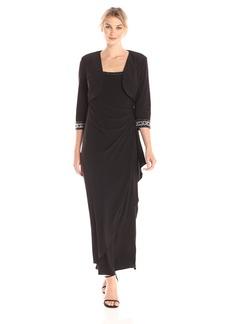 Alex Evenings Women's Long Empire Waist Bolero Jacket Dress with Beaded Cuffs